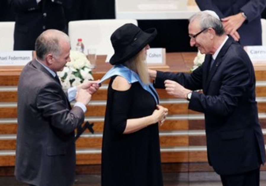 BARBRA STREISAND receives an honorary doctorate at Hebrew University of Jerusalem at Mount Scopus