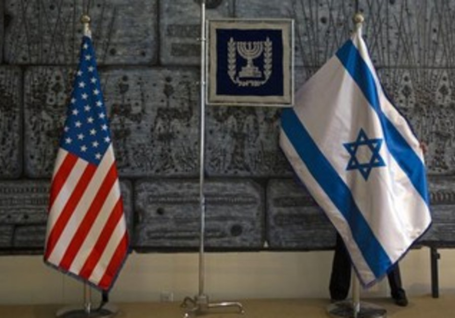 US, Israel flags.