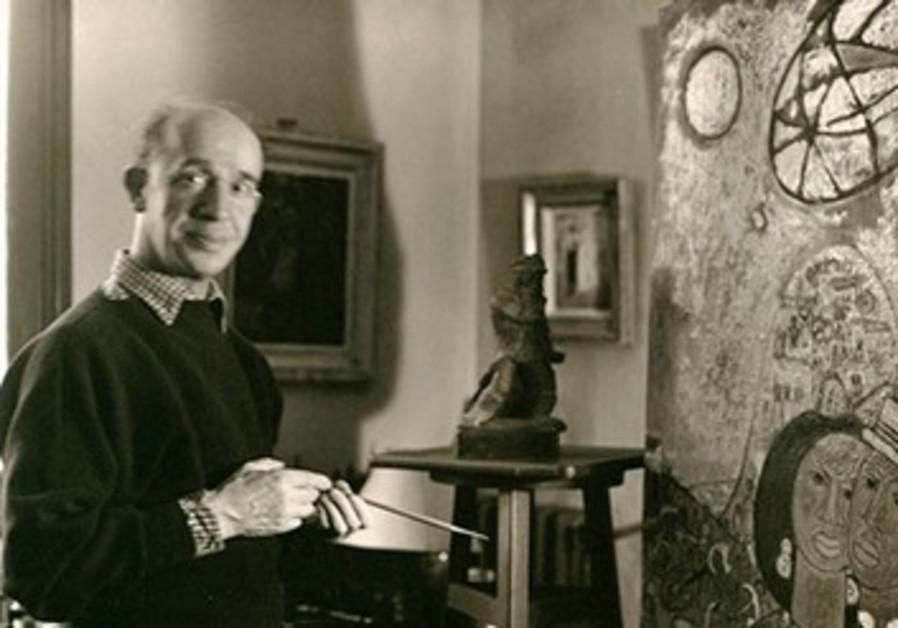 Jesekiel David Kirszenbaum dans son atelier à Paris en 1950.