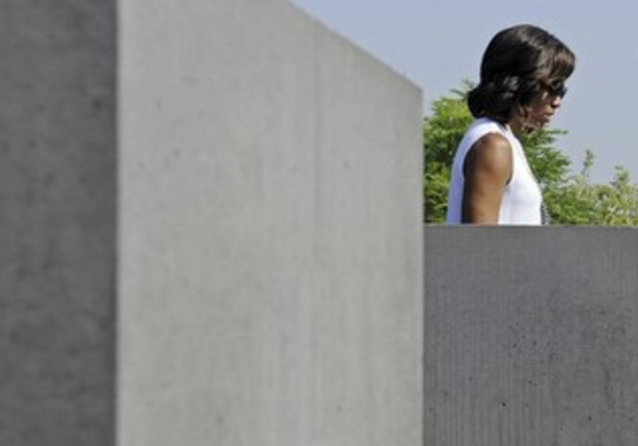 Michelle Obama at the Berlin Holocaust Memorial.