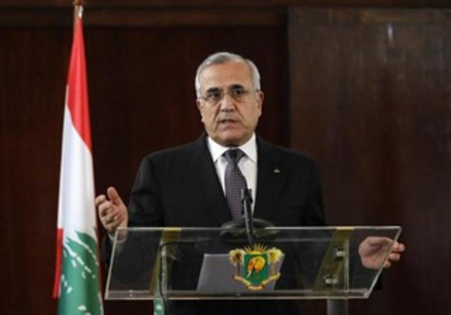 Lebanon's President Michel Suleiman talks, March 15, 2013.