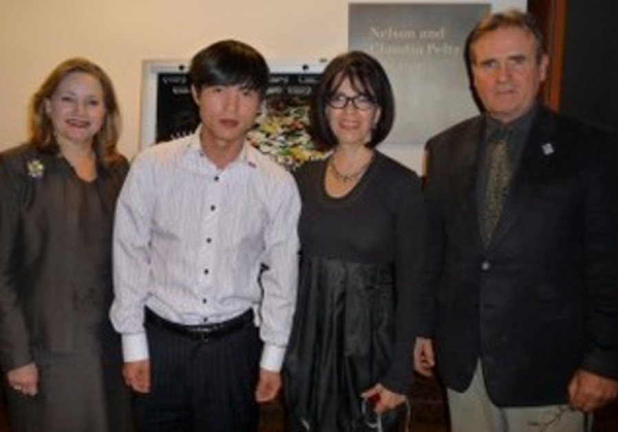 Left to right, Liebe Geft, Shin Dong-hyuk, N.C. Heikin and James Egan at Museum of Tolerance in L.A.
