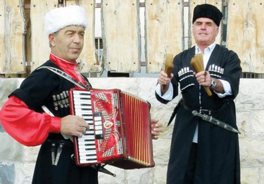 Circassian men in traditional garb