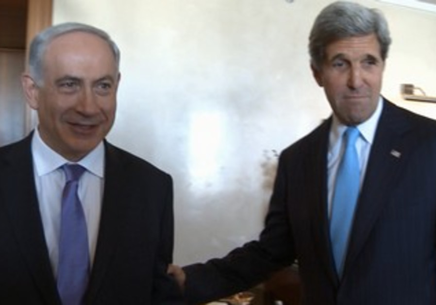 Prime Minister Binyamin Netanyahu and US Secretary of State John Kerry meet in J'lem, June 28, 2013.