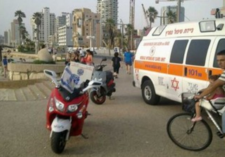 A Magen David Adom ambulance at the Bograshov beach.