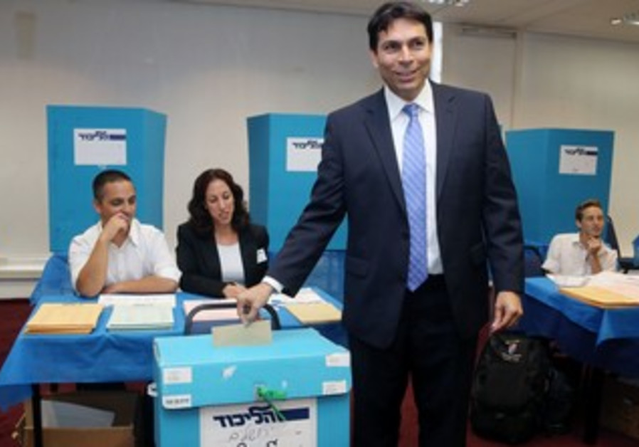 Deputy Defense Minister Danny Danon voting at the Likud elections, June 30, 2013.
