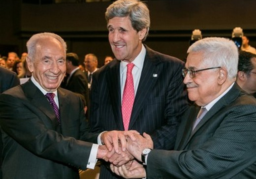 President Shimon Peres, US Secretary of State John Kerry and PA President Mahmoud Abbas.