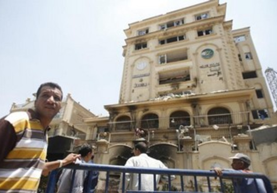 The ransacked Muslim Brotherhood building in Cairo