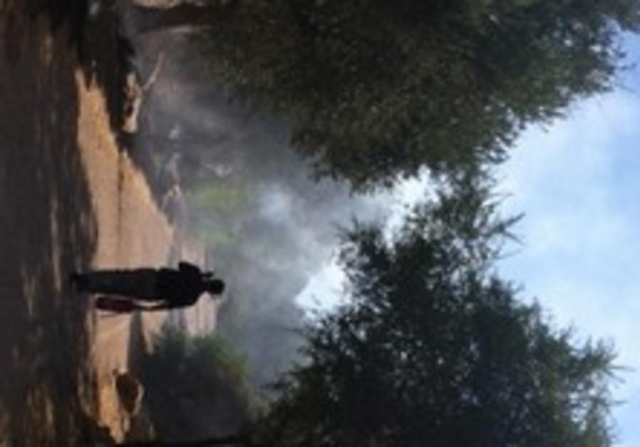 Fire breaks out in Valley of the Cross, Jerusalem on July 2, 2013.
