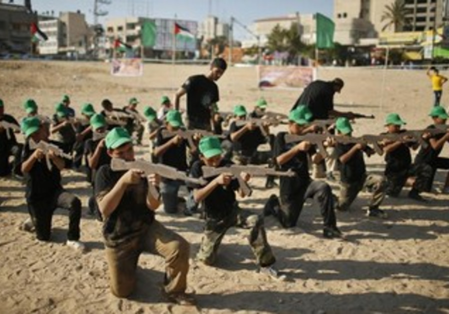 A military-style exercise at a summer camp organized by the Hamas movement