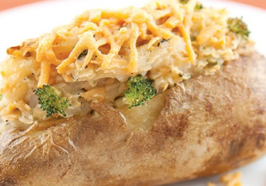 TWICE-BAKED potatoes with broccoli and cheese filling.