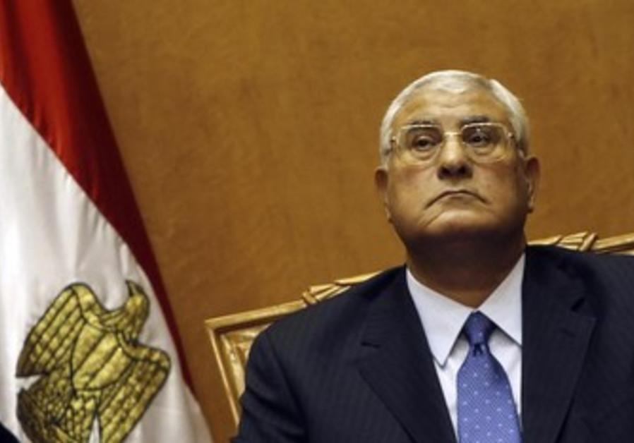 Egyptian interim president Adli Mansour is sworn in, July 4, 2013