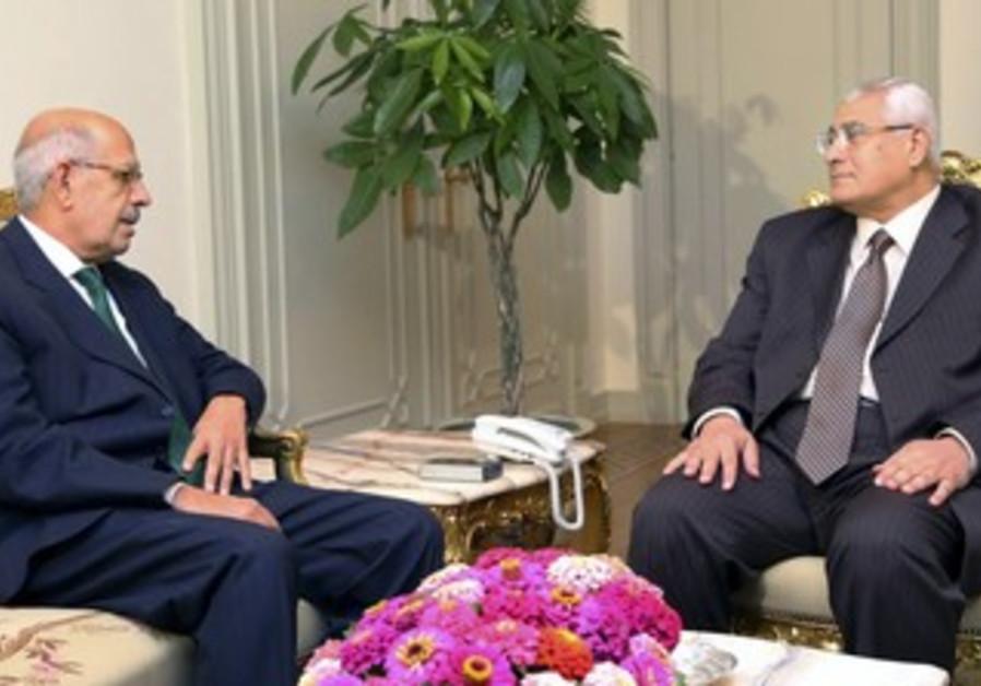Egypt's interim President Adli Mansour meets with Mohamed ElBaradei.