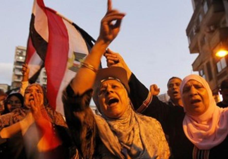 Anti-Morsi protesters celebrate in Alexandria, June 7, 2013.