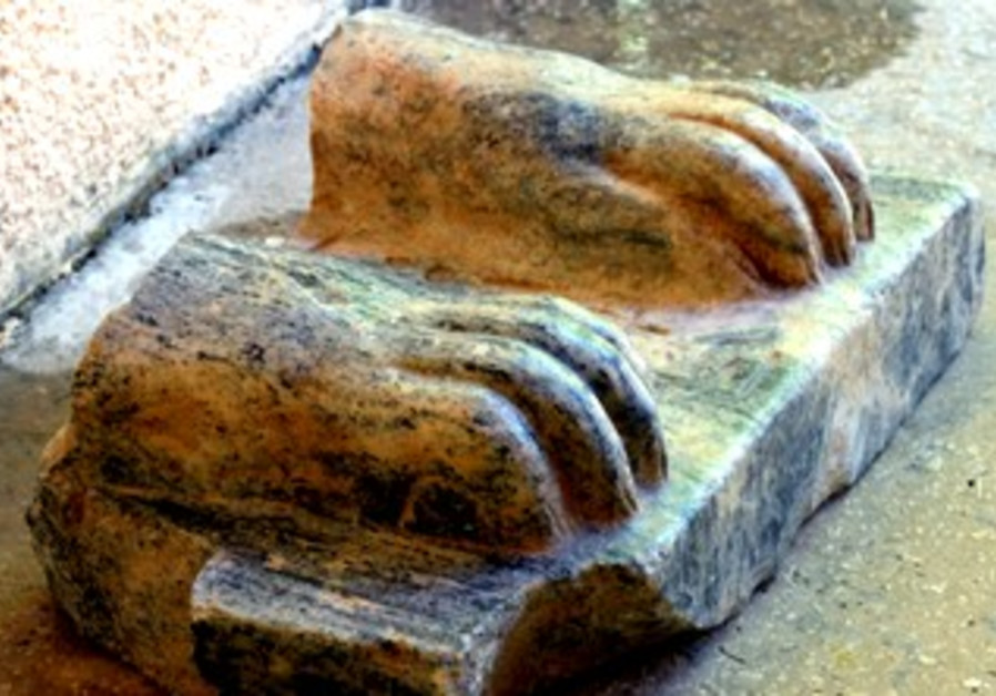 The remains of a Sphinx found in Tel Hazor