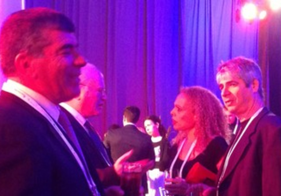 Former IDF chief of staff Gabi Ashkenazi at the JPost Conference with Orly Vilna'i and Guy Meroz.