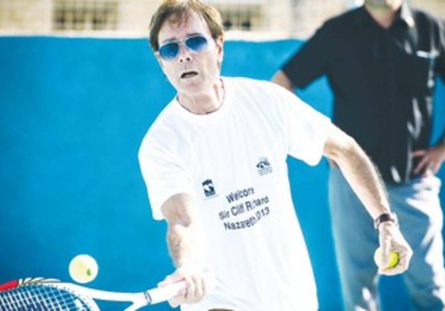 Sir Cliff Richard playing tennis in Nazareth.