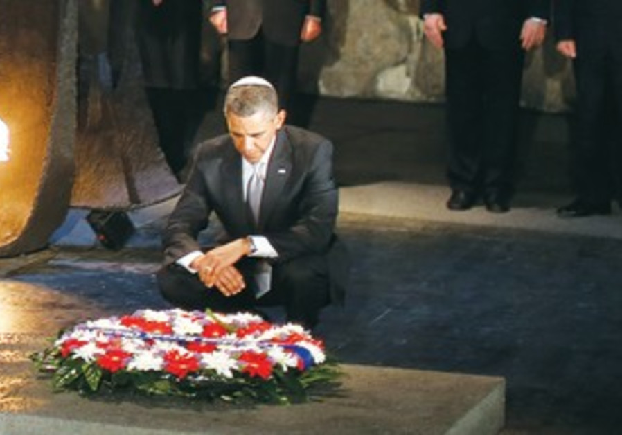 US President Barack Obama  lays a wreath at the Hall of Remembrance during his visit to Yad Vashem.