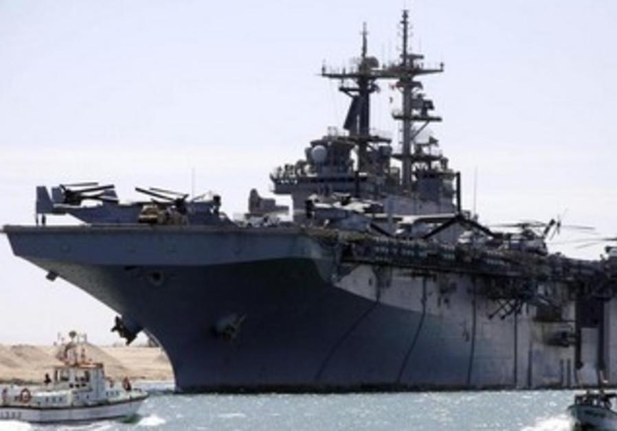 The USS Kearsarge as it sails through the Suez canal.