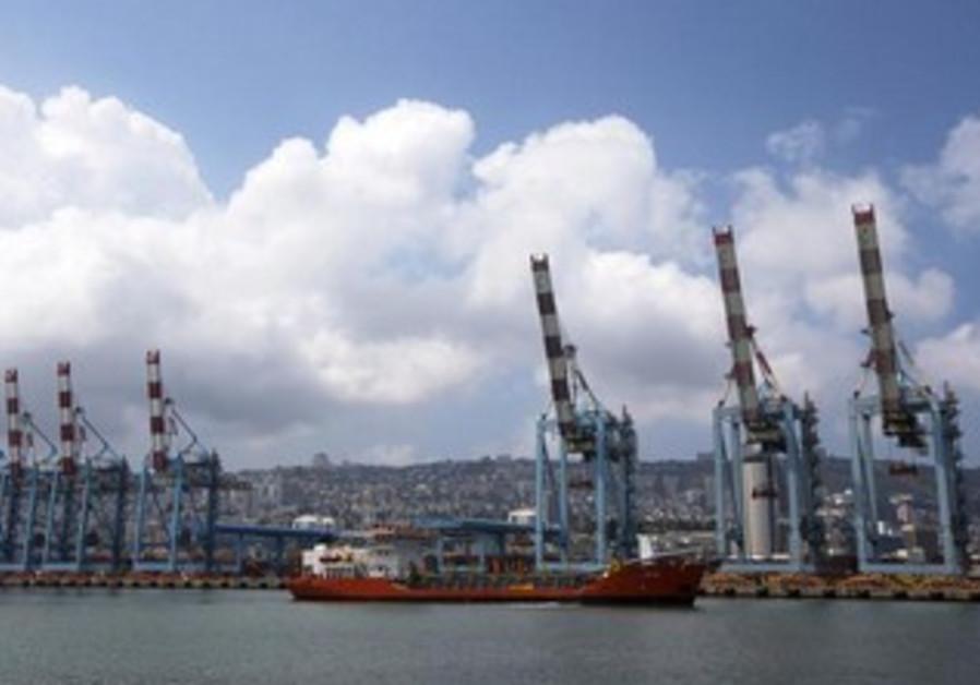 Cranes are seen at the port of Haifa.