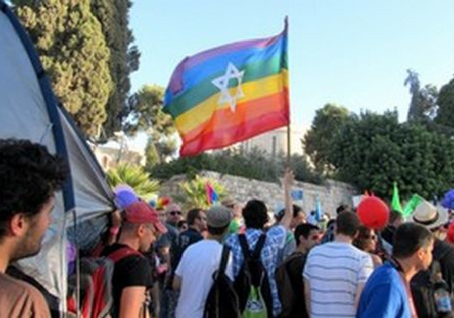 Marchers take part in the J'lem Gay Pride Parade.