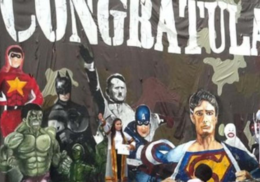 A mural depicting Hitler among comic book superheroes at at Thailand's Chulalongkorn University.