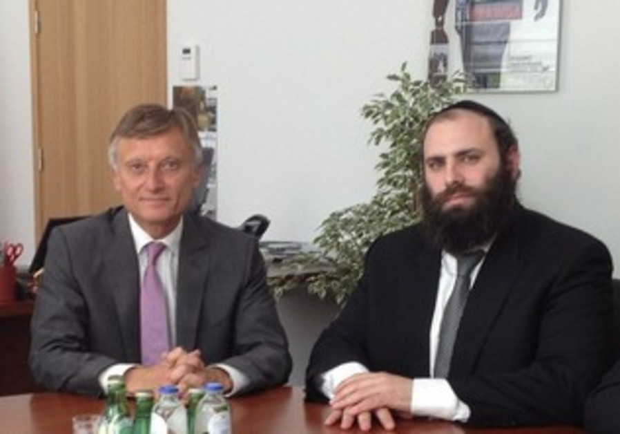 Ambassador Prawda and Rabbi Margolin in Brussels, July 18th, 2013.