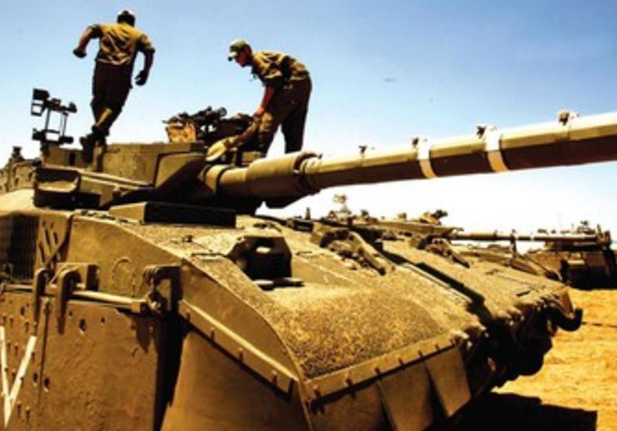 Un char à la frontière de Gaza.