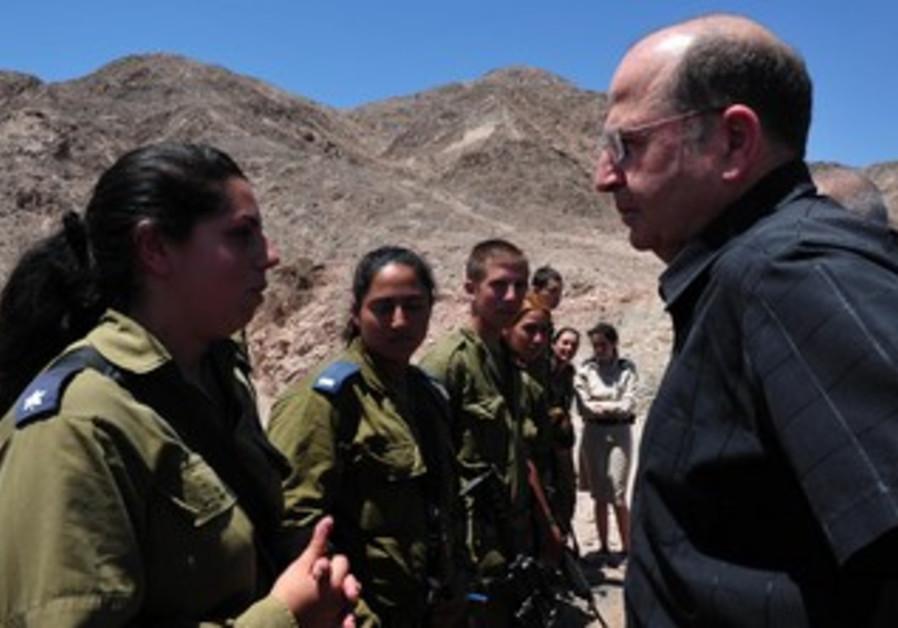 Defense Minister Moshe (Bogie) Ya'alon on Egypt Border, July 23, 2013.