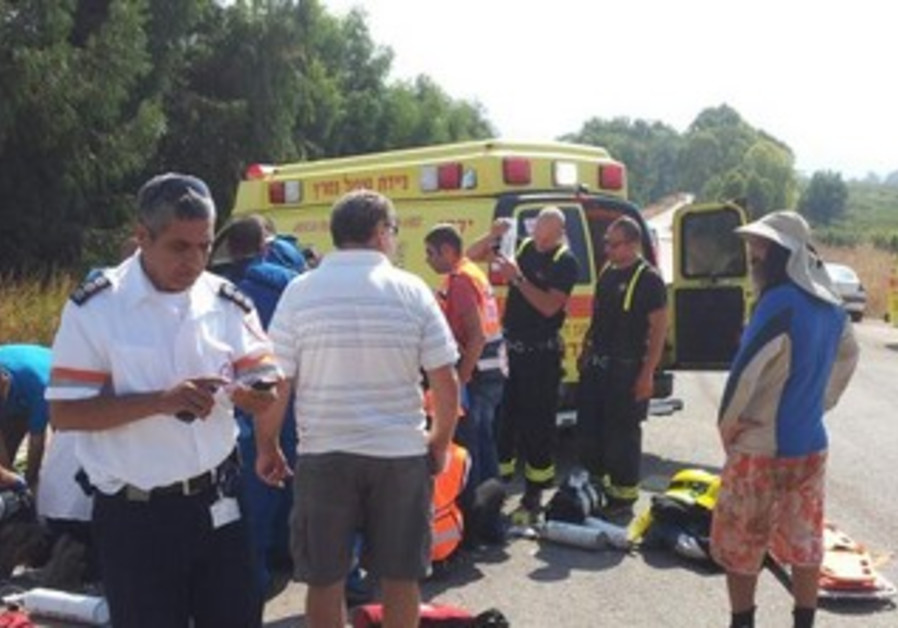 Magen David Adom paramedics at scene of incident, July 25, 2013.