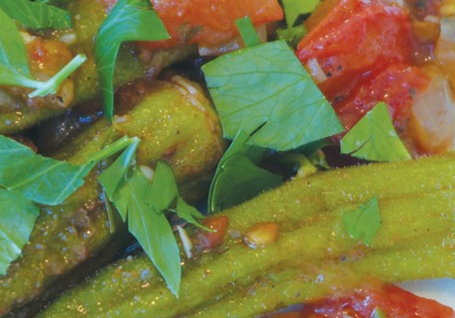 Okra in spicy tomato sauce.