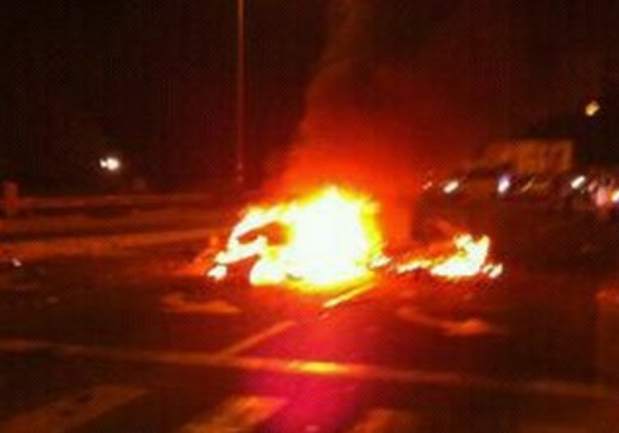 Car explosion at Yarkonim Junction, July 25, 2013
