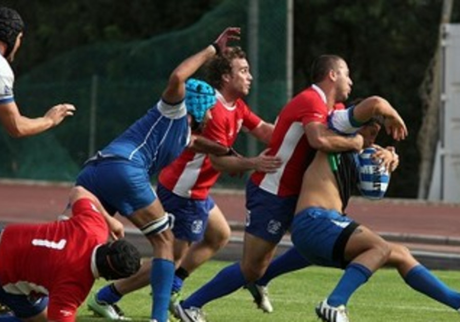 ISRAEL BEAT Chile (in red) in the Maccabiah rugby quarterfinals
