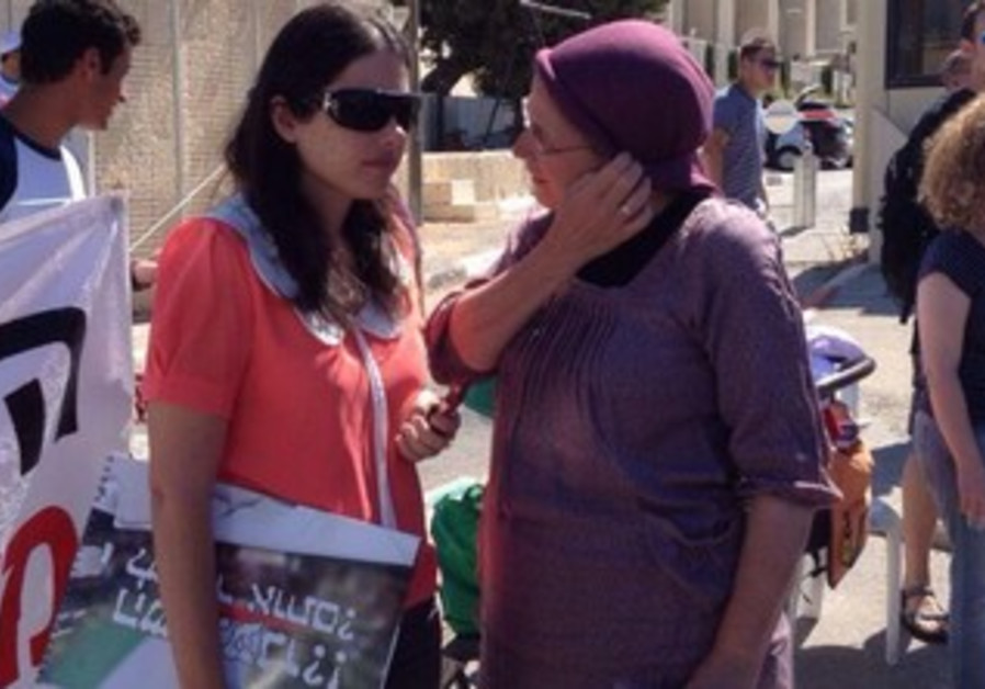 Bayit Yehudi's Ayelet Shaked and Orit Struck at a protest against releasing of Palestinian prisoners