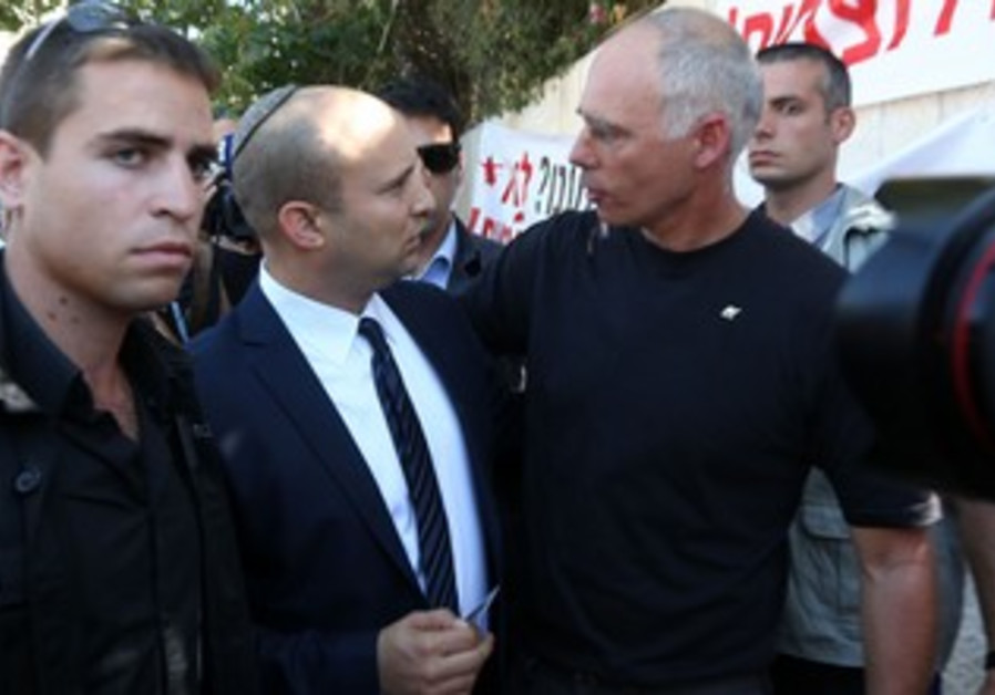 Naftali Bennett during Jerusalem protest July 28, 2013.
