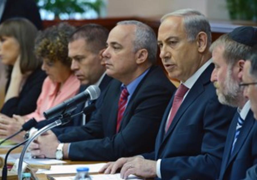 Prime Minister Binyamin Netanyahu at the weekly cabinet meeting, July 28, 2013.
