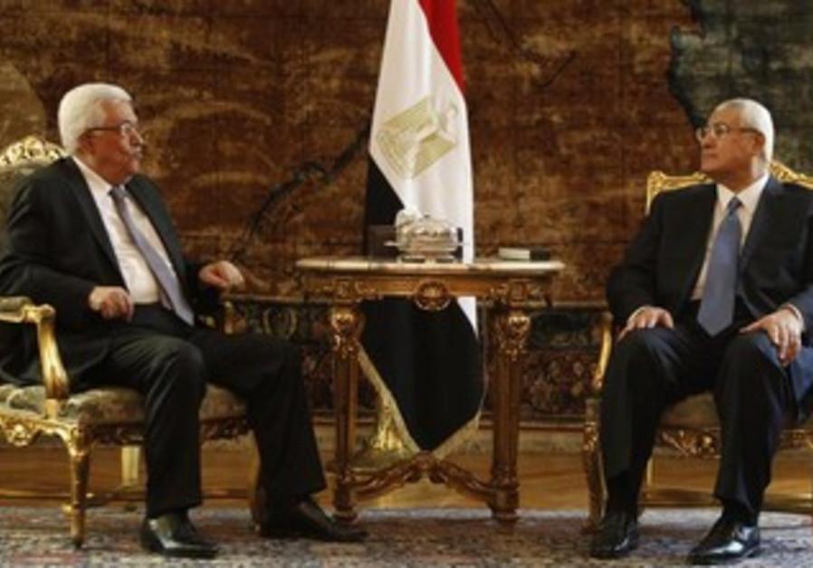 Egypt's interim President Adli Mansour (R) meets with Palestinian President Mahmoud Abbas.