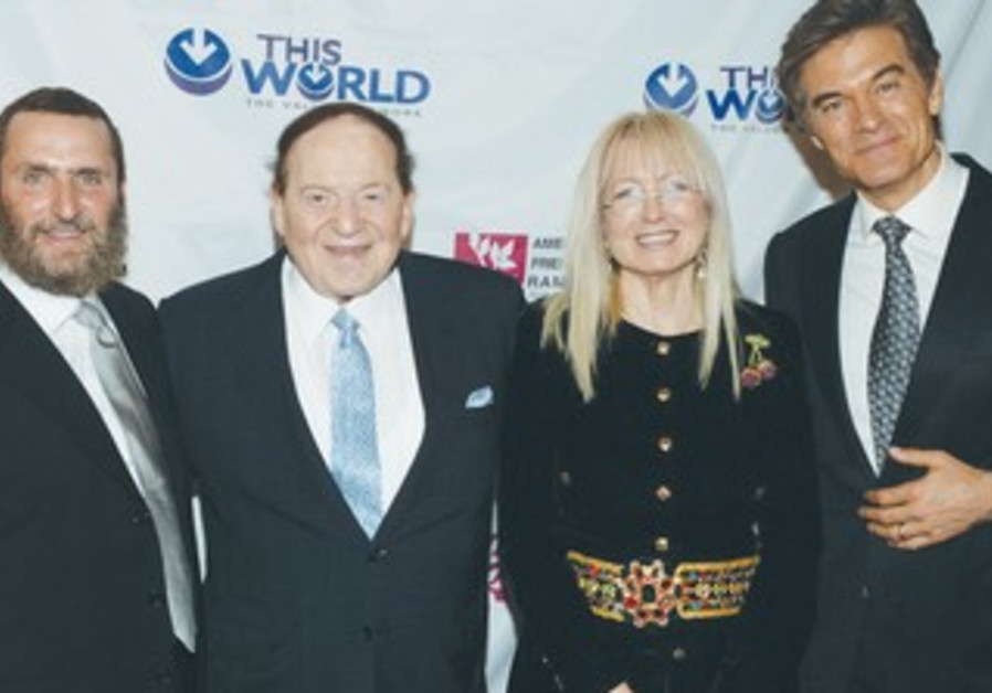 Shmuley Boteach, Sheldon and Miriam Adelson, and Mehmet Oz