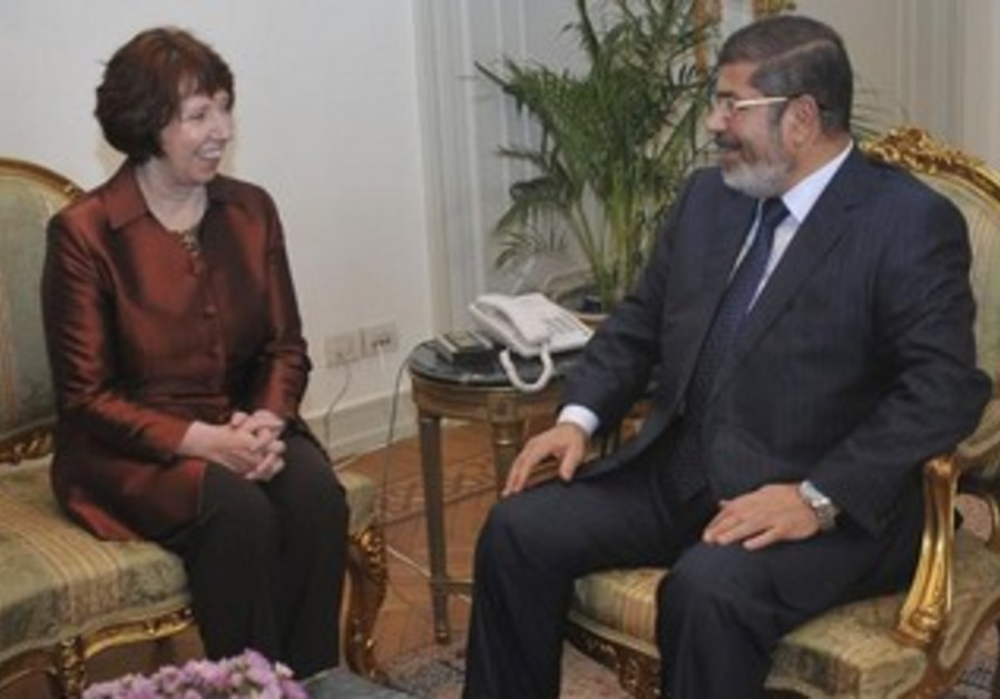 Now ousted Egypt president Morsi meets with EU chief Ashton back in November 2012.