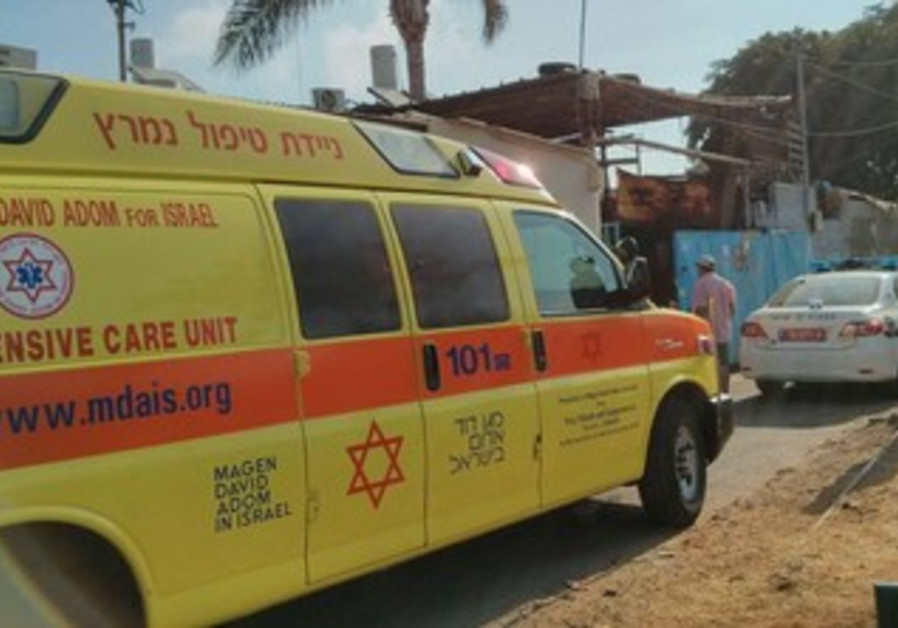A Magen David Adom emergency vehicle responds to murder call on July 30, 2013.