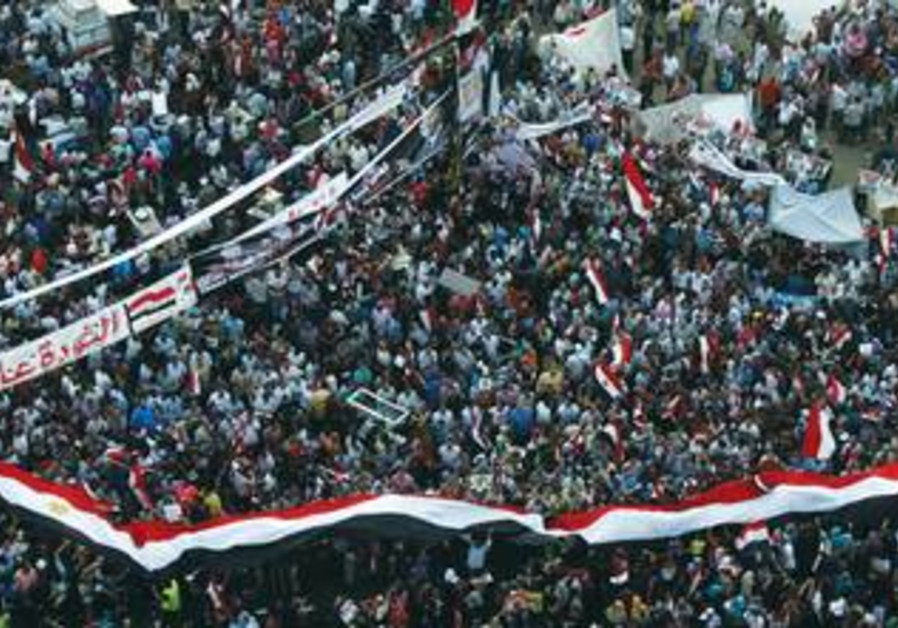 Muslim Brotherhood supporters wave Egyptian flags, signs and masks of Morsi