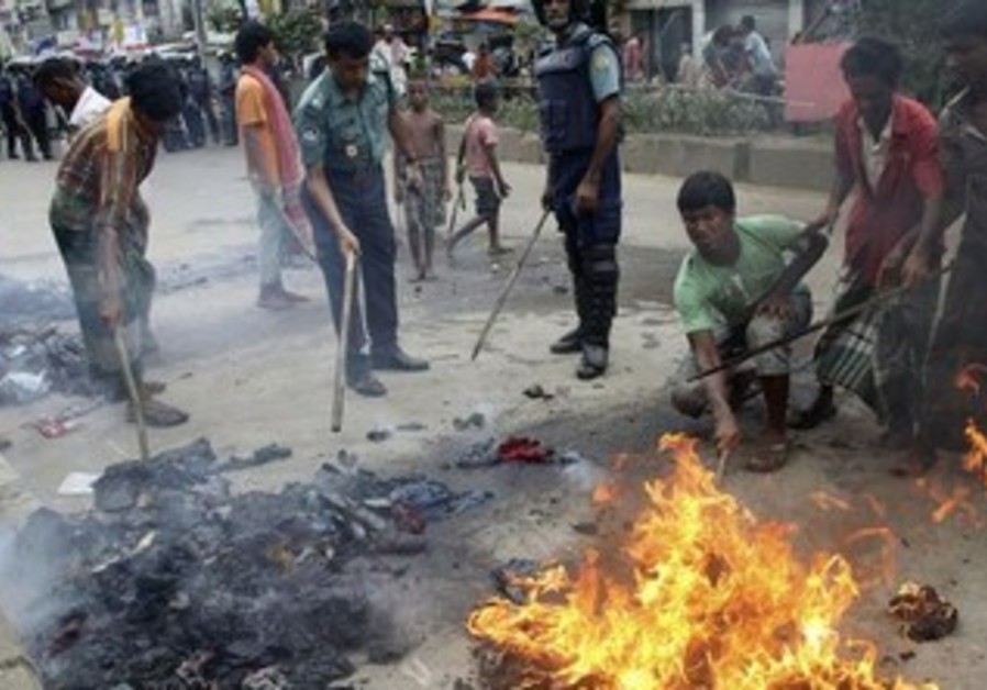 Remnants of Jamaat-e Islami protest in Dhaka, August 1, 2013.