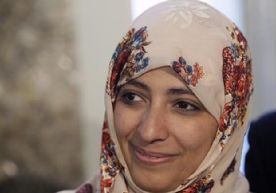Nobel Peace Prize winner Tawakul Karman of Yemen attends a meeting in Rome in this February 6, 2012