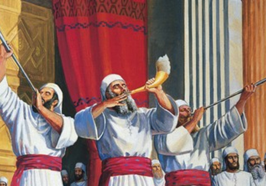 Original painting depicting a Cohen blowing the shofar in the Holy Temple.