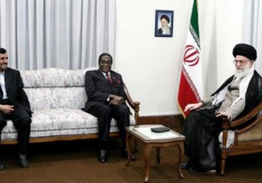 Iran's Khamenei and then-president Ahmadinejad host Zimbabwean President Mugabe in Tehran in 2010