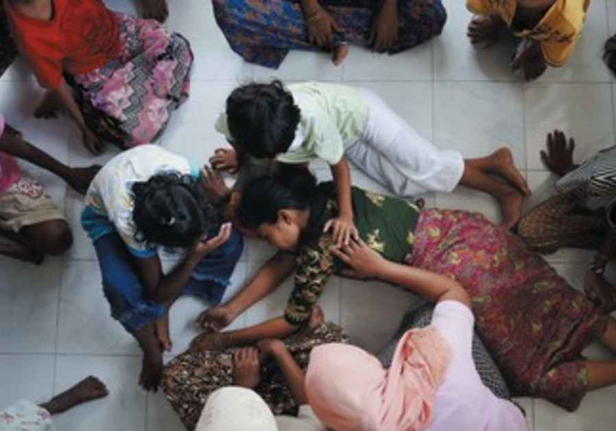 A shelter for women and children belonging to Myanmar's persecuted Rohinga Muslims.