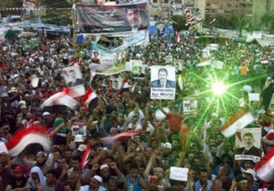 Pro Morsi supporters at Rabaa Adawiya Square in Nasr city, August 11, 2013.
