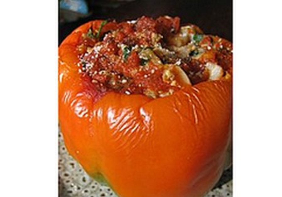 Stuffed Peppers with Freekeh Pilaf