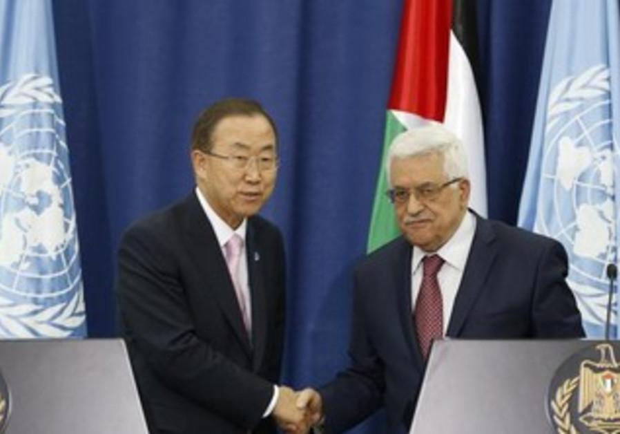UN chief Ban Ki-moon and PA president Abbas in Ramallah, August 15