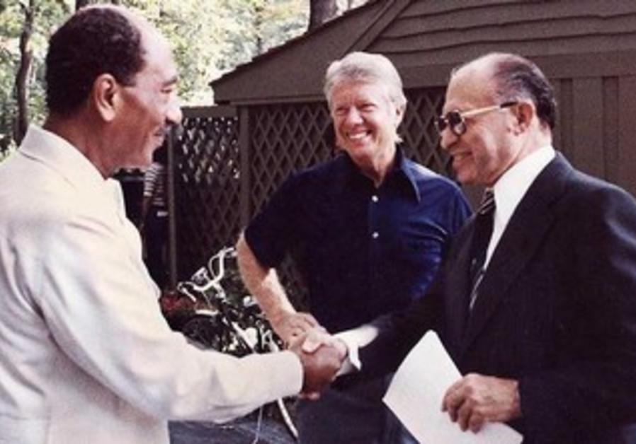 Menachem Begin, Jimmy Carter and Anwar Sadat at Camp David in 1978.